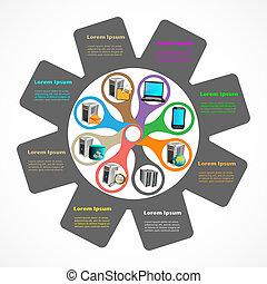 empresa, aplicação, infographics