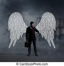 empresa / negocio, ángel, con, un, maleta, en, ciudad, ruinas