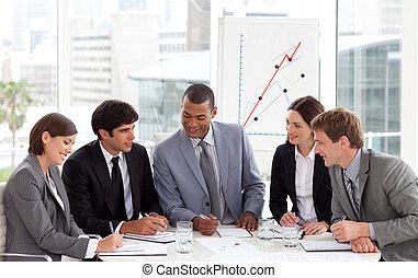 empresa / negocio, ángulo, reunión, alto, grupo, diverso