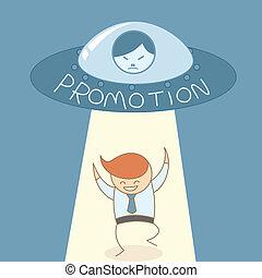 empresa / negocio, éxito, carrera, promoción, hombre, feliz