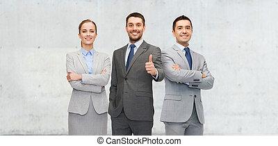 empresa / negocio, actuación, arriba, pulgares, equipo, feliz