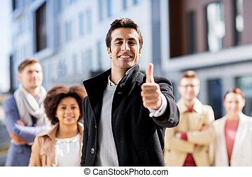 empresa / negocio, actuación, arriba, pulgares, equipo, internacional