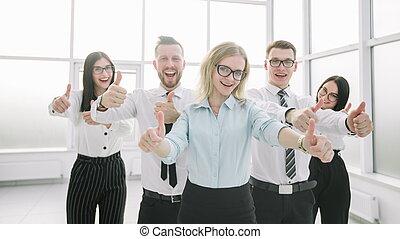 empresa / negocio, actuación, arriba, su, pulgares, equipo, feliz