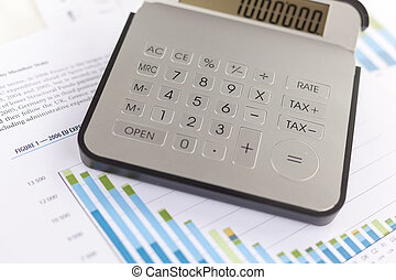 empresa / negocio, análisis, -, contabilidad, informe, con, calculadora