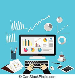 empresa / negocio, analytics, concepto, illustration.