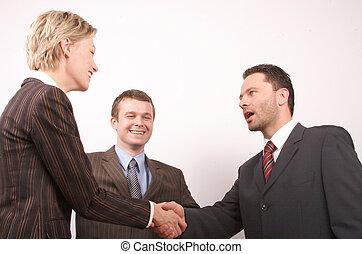 empresa / negocio, apretón de manos, 3