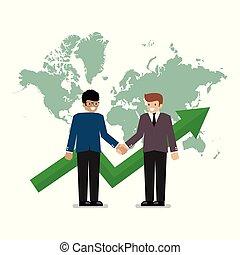 empresa / negocio, apretón de manos, en, el, plano de fondo, de, mapa del mundo