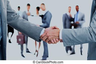 empresa / negocio, apretón de manos, y, empresa / negocio, personas.
