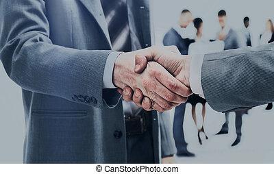 empresa / negocio, apretón de manos, y, empresarios