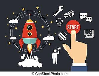 empresa / negocio, arriba, comienzo, vector, plano