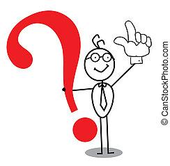 empresa / negocio, atención, signo de interrogación