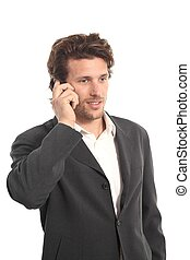 empresa / negocio, atractivo, joven, con, un, teléfono