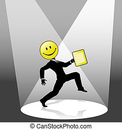 empresa / negocio, baile, smiley, alto, persona, paso, proyector