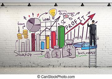 empresa / negocio, bosquejo, en, pared ladrillo