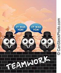 empresa / negocio, cómico, trabajo en equipo