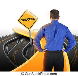 empresa / negocio, camino, decisión, hombre, éxito, mirar
