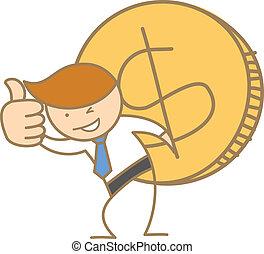 empresa / negocio, carácter, dólar, proceso de llevar, grande, moneda, caricatura, hombre