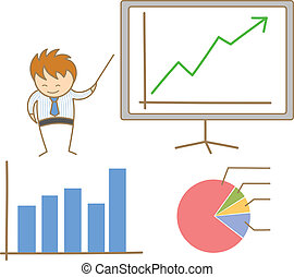 empresa / negocio, carácter, tabla, caricatura, presente, hombre