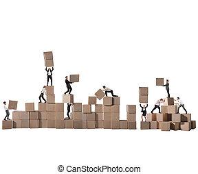 empresa / negocio, colaboración, y, cooperación