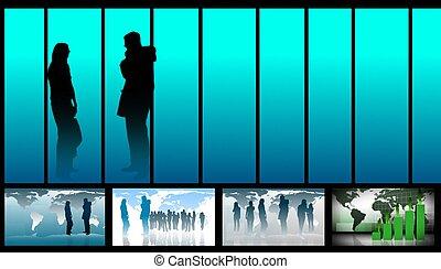 empresa / negocio, collage, de, imágenes