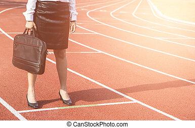 empresa / negocio, competición, concepto, en, track., empresarios, posición, vestigio, aparejar, para, comienzo, business.