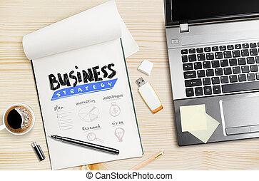 empresa / negocio, computador portatil, bloc, strategy., mano, lugar de trabajo, dibujado