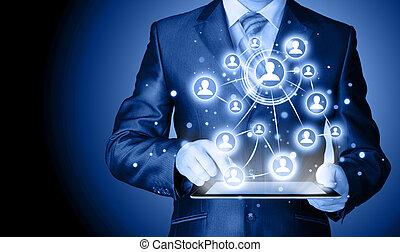 empresa / negocio, computadora personal tableta, conexión,...