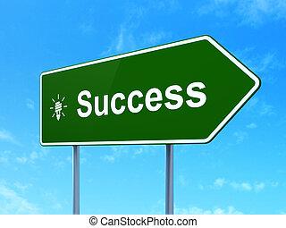 empresa / negocio, concept:, éxito, y, energía, ahorro, lámpara, en, muestra del camino, plano de fondo