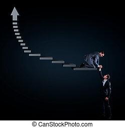 empresa / negocio, concept., hombre de negocios, porción, el suyo, colega, para conseguir, en, stage.