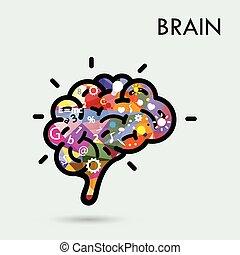 empresa / negocio, concepto, cartel, concepto, cubierta,  idea, creativo, cerebro, aviador, diseño, folleto, educación