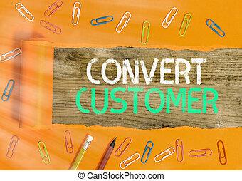 empresa / negocio, conceptual, actuación, customer., converso, mano, táctica, plomos, texto, escritura, estrategia, vuelta, buyer., mercadotecnia, foto