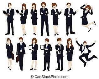 empresa / negocio, conjunto, caricatura, no.1, gente