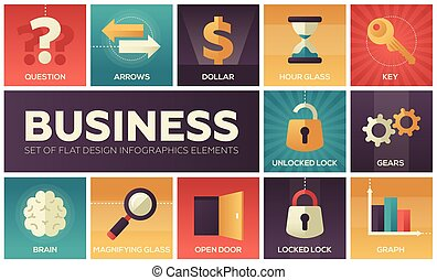 empresa / negocio, -, conjunto, de, plano, diseño, infographics, elementos