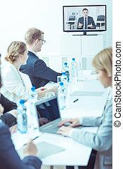 empresa / negocio, consulta, en, compañía