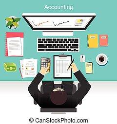 empresa / negocio, contabilidad, concepto, illustration.