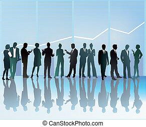 empresa / negocio, conversación, y, communica