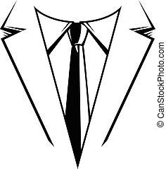 empresa / negocio, corbata, y, traje, formal