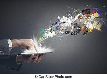 empresa / negocio, creatividad, con, un, tableta