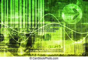 empresa / negocio, dinero, tecnología, fondo verde