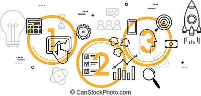 empresa / negocio, diseño, línea fina, plano, ilustración, concepto, proceso