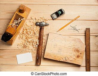 empresa / negocio, ebanistería, madera, plano de fondo, tabla, herramientas, tarjeta