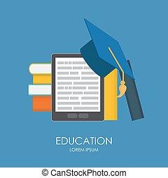 empresa / negocio, educación, concept., tendencias, y, innovación, en, education.