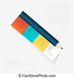 empresa / negocio, educación, lápiz, escalera, infographics, option.