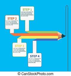 empresa / negocio, educación, lápiz, infographics, opción