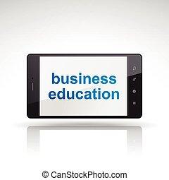 empresa / negocio, educación, palabras, en, teléfono móvil