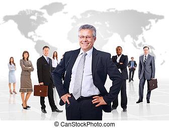 empresa / negocio, encima, backgroun, aislado, hombre, equipo, el suyo, blanco