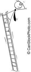 empresa / negocio, escalera, mirar, conceptual, delantero, caricatura, hombre
