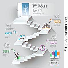 empresa / negocio, escalera, pensamiento, idea.