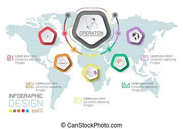 empresa / negocio, etiquetas, infographic, en, mapa del mundo, fondo.