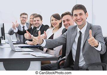 empresa / negocio, exitoso, actuación, arriba, pulgares, equipo